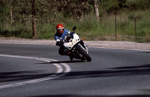 Feeling at one with the exotic Suzuki GSXR 750R.