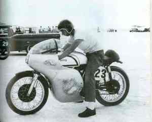Don on the salt at Bonneville with his Manx Norton.