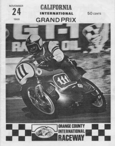 Don on the cover of the Orange County Raceway program riding a 250cc Bridgestone GP racer.