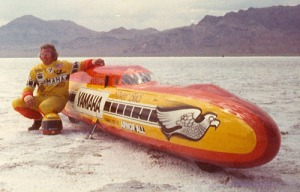 Don with the Silver Bird Yamaha streamliner after setting an new world record of 302.98mph.