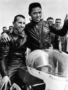 Don aboard the Open Class winning Yamaha RD56 at Daytona 1963 with Japanese rider Fumio Ito.