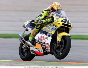 Rossi on his 2001 Championship winning NSR500 two-stroke.