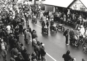 The grid lines up for the start of the 1988 Lobethal TT recreation.