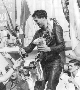 Read receives the trophies and takes the 1964 250cc World Championship.