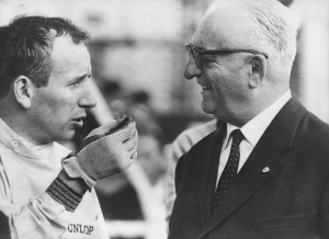 "Surtees in discussion with ""Il commendatore"" Enzo Ferrari."