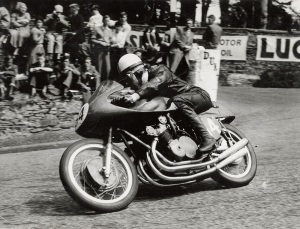 John Surtees rides his MV Agusta to victory at the 1958 Isle of Man TT.