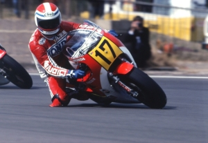 Freddie Spencer on the NR500 Honda at Silverstone.