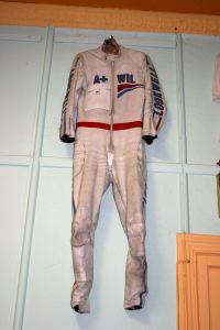 Grand Prix star Wil Hartog's leathers, complete with scuff marks on the left shoulder.