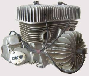 DKW's air-cooled 350cc V3 two-stroke engine.