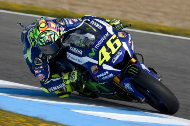 Valentino Rossi on his way to pole position at Jerez.