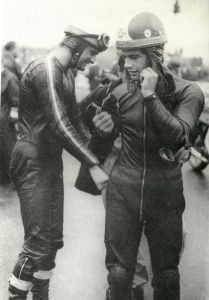 "Hailwood (left) and ""Ago"" prepare to do battle on the starting grid."