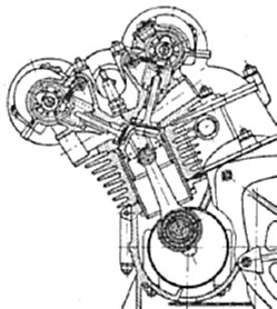 honda motovue Lotus Formula One Cars a cutaway drawing of the vostok s 364 crank conrod pistons and overhead camshafts